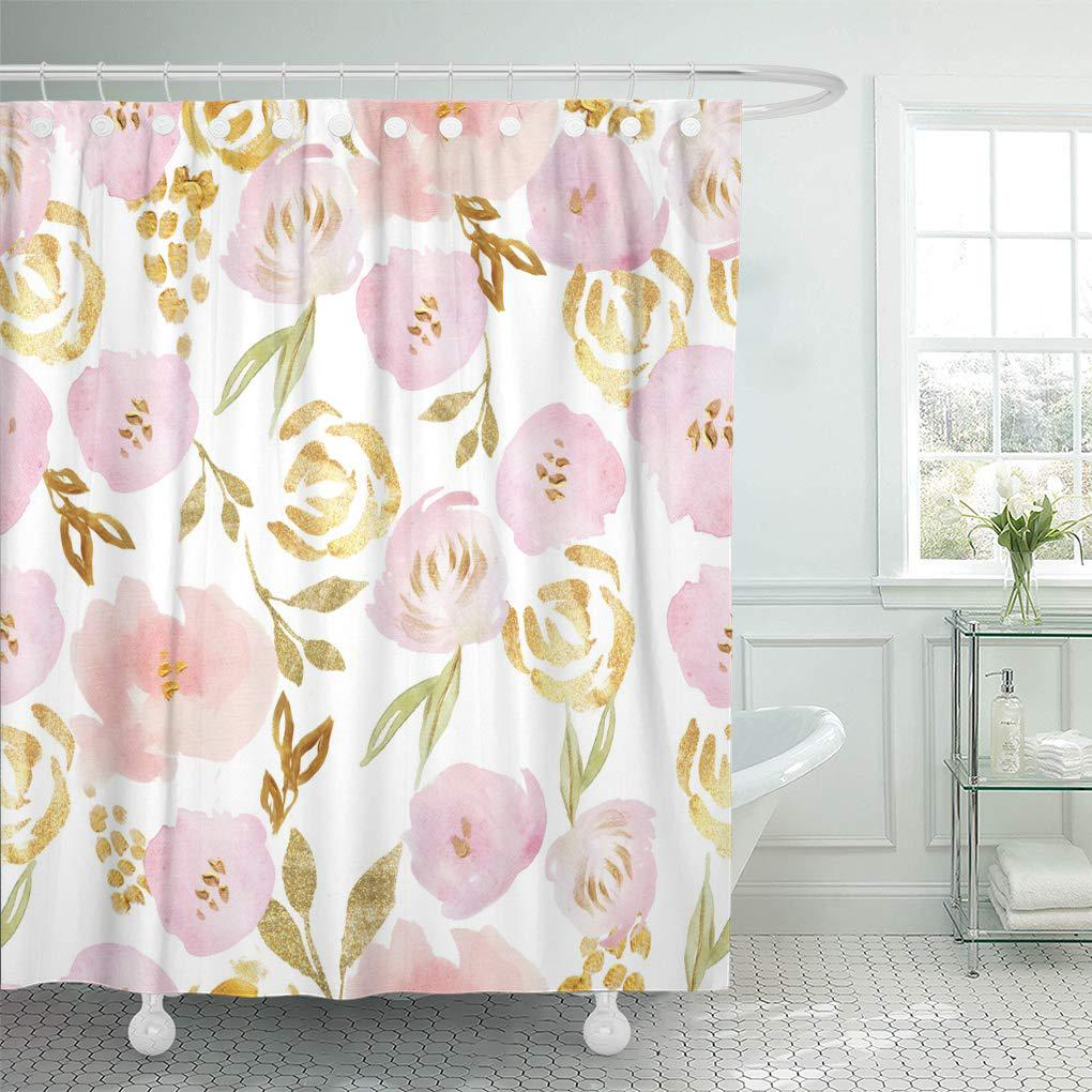 pattern pink gold watercolor rose and flower white floral shower curtain 60x72inch 150x180cm