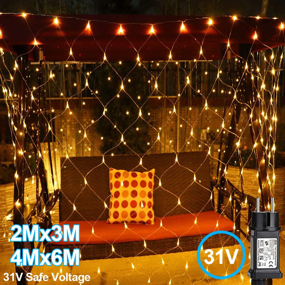 led string lights net mesh lights 2x3m 4x6m warm white curtain fairy lights with 8 modes controller for holiday party outdoor wall wedding decorations
