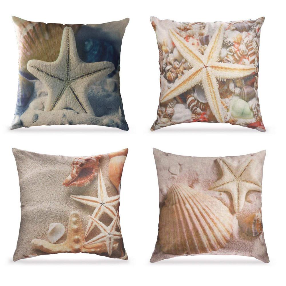 cotton linen cushion covers set of 4 ocean theme throw pillow covers home decorative 18 x 18 inch buy at a low prices on joom e commerce platform