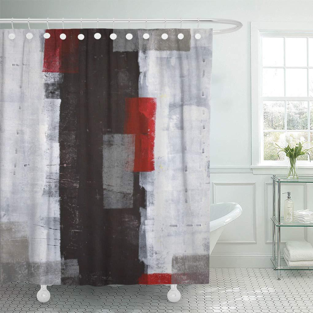 modern red and grey abstract painting black white wall shower curtain 66x72inch 165x180cm
