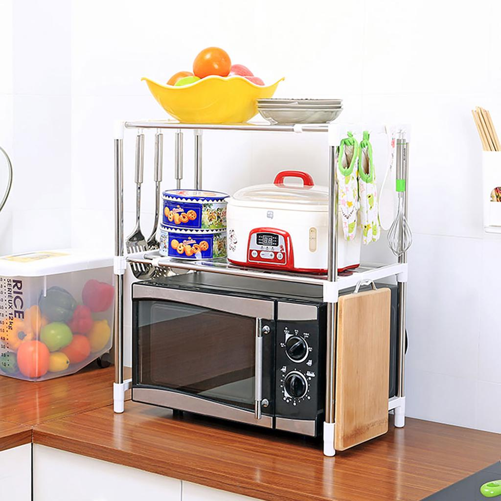 double layer large capacity microwave oven rack 2b hook kitchen storage holder kitchen appliances storage