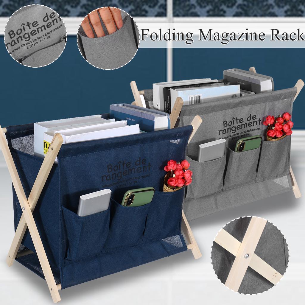 wooden folding magazine rack bookshelf newspaper holder for office school home storage