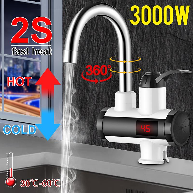 2s fast heat 360 degree rotation 3000w faucet hot cold electric kitchen instantaneous water heater faucet single handle temp display