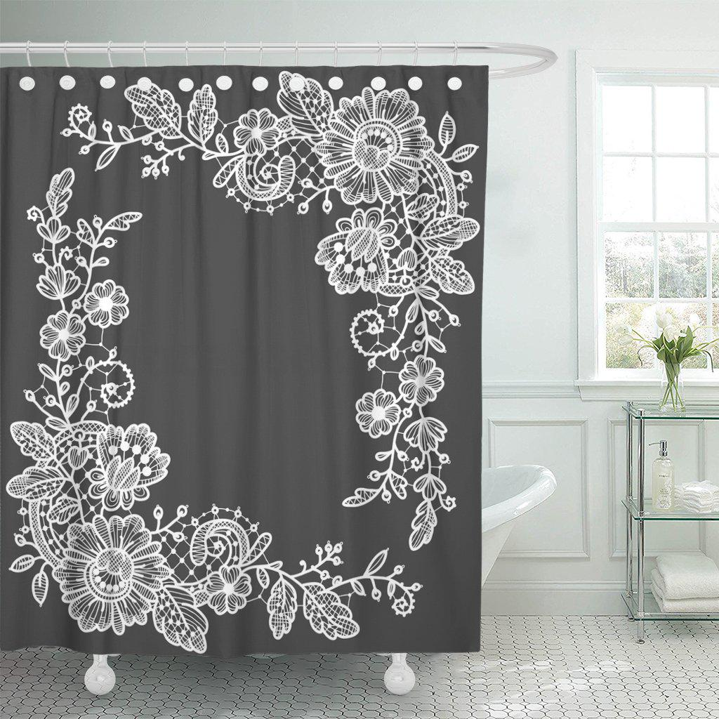 gray white lace corner floral pattern angle color congratulation shower curtain 60x72inch 150x180cm