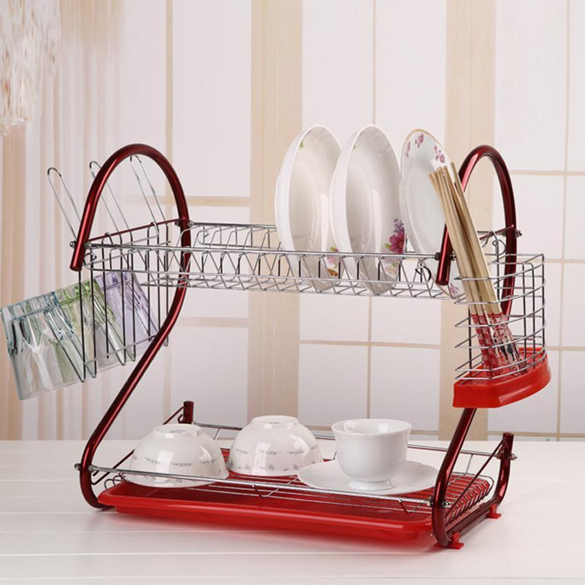 red 2 tier dish drying rack stainless steel drainer kitchen storage buy at a low prices on joom e commerce platform
