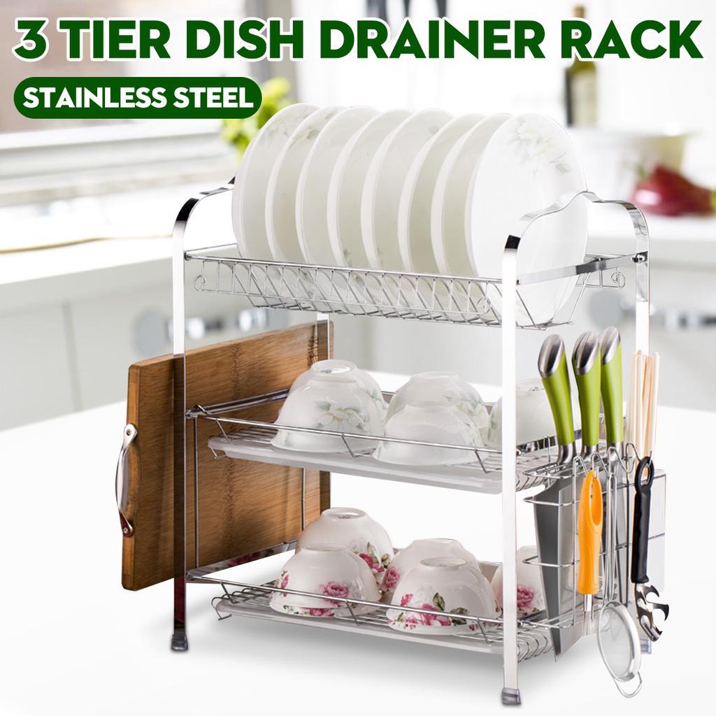 3 layer tier chrome dish plated alloy rack drying kitchen under sink shelf organizer plate drainer holder dish water dryer brush holder