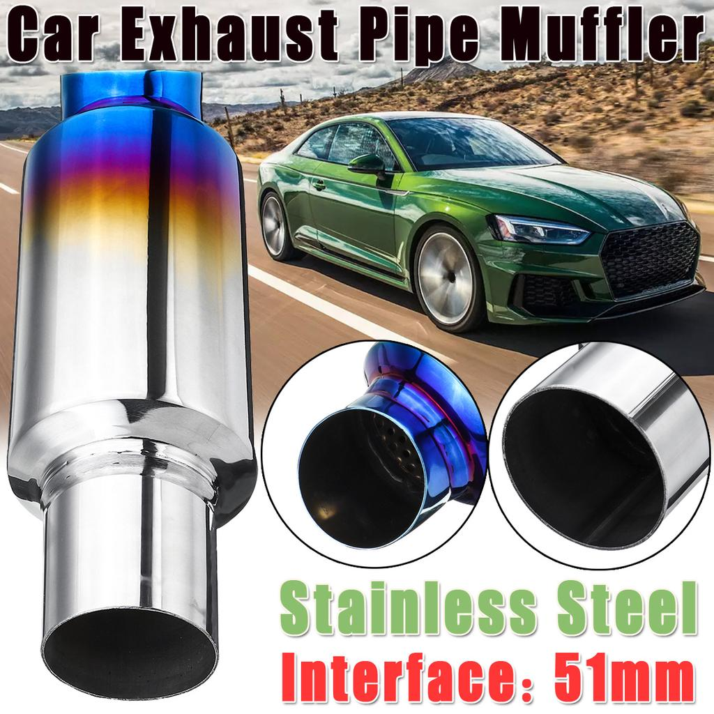 51mm 2 inch car inlet exhaust pipe muffler silencer resonator bent stainless steel vehicle tail pipe