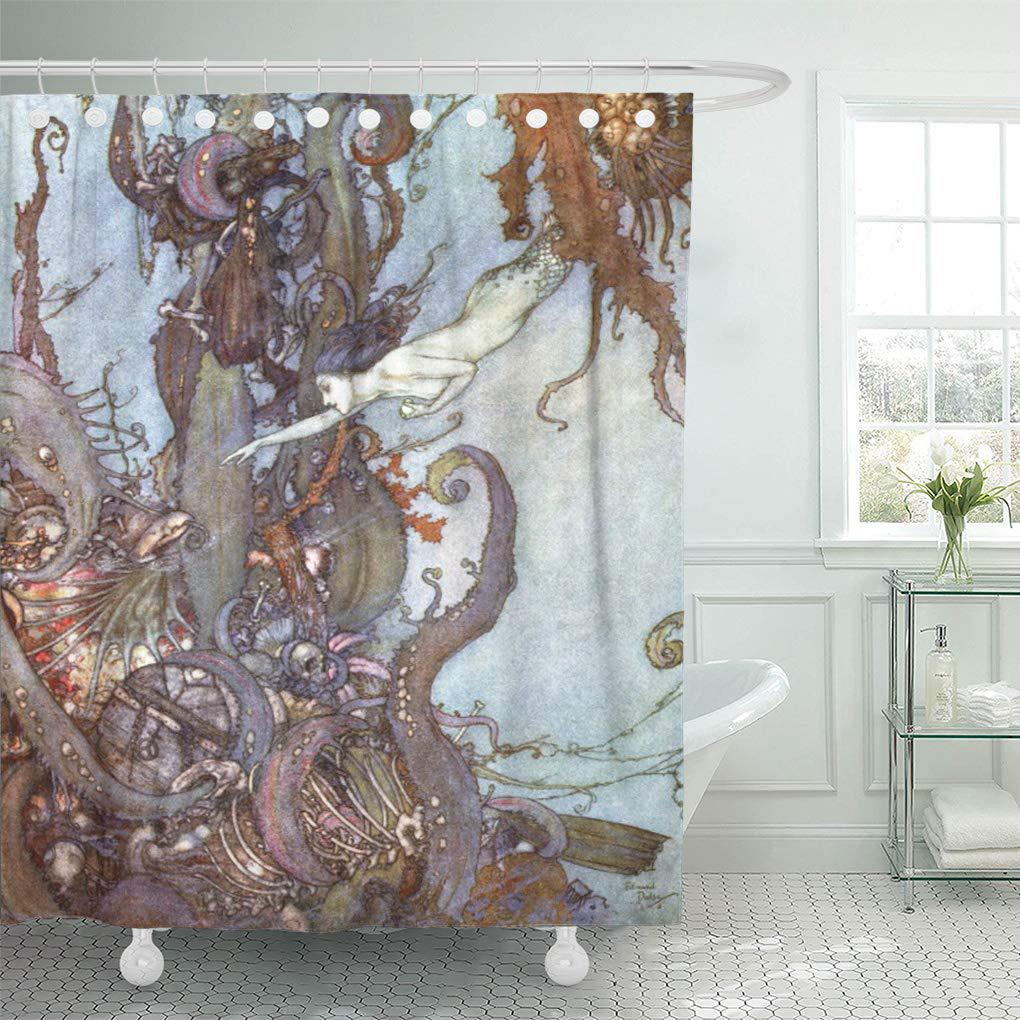 vintage the little mermaid by edmund book stories old shower curtain 60x72inch 150x180cm