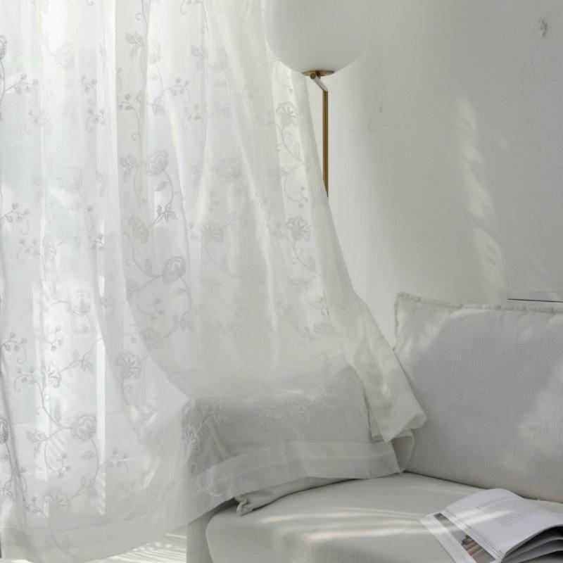 broderie net rideaux cantonnieres dentelle tulle fenetre panneau drape floral romantique pure