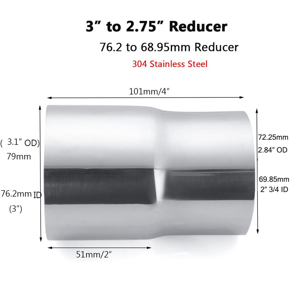 3 to 2 75 stainless steel flared exhaust reducer connector adapter pipe