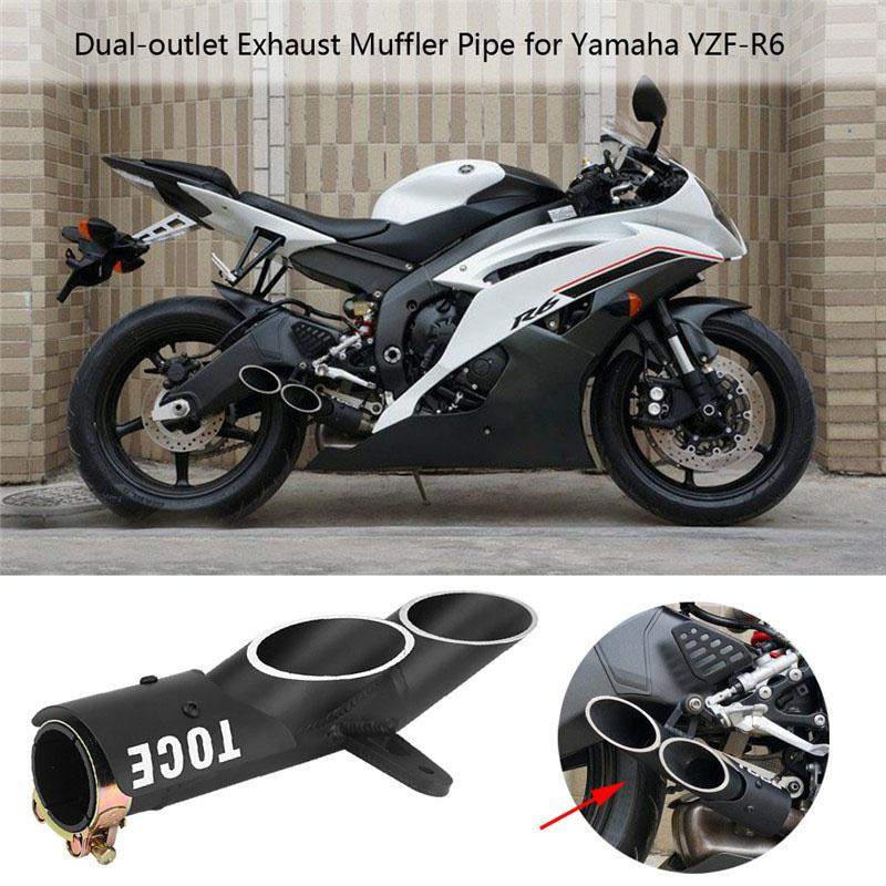 motorcycle dual exhaust exhaust pipe muffler muffler for yamaha yzf r6 suzuki gsx r buy at a low prices on joom e commerce platform