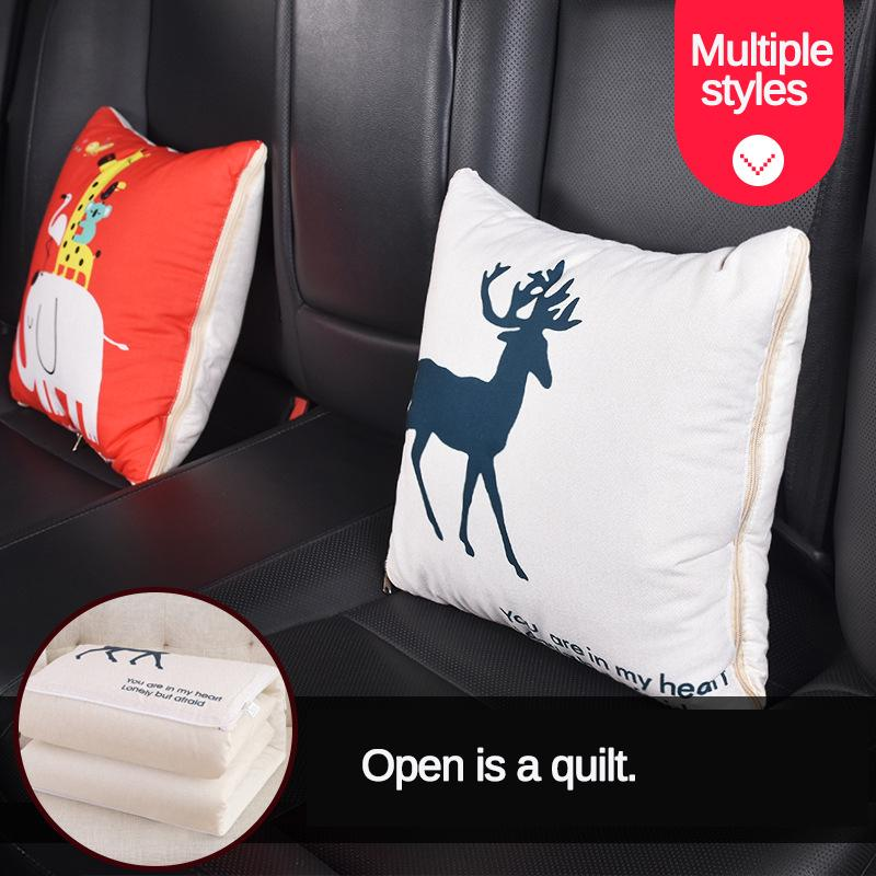 2 in 1 portable car pillow quilt dual purpose vehicle blanket folding air conditioning cushion
