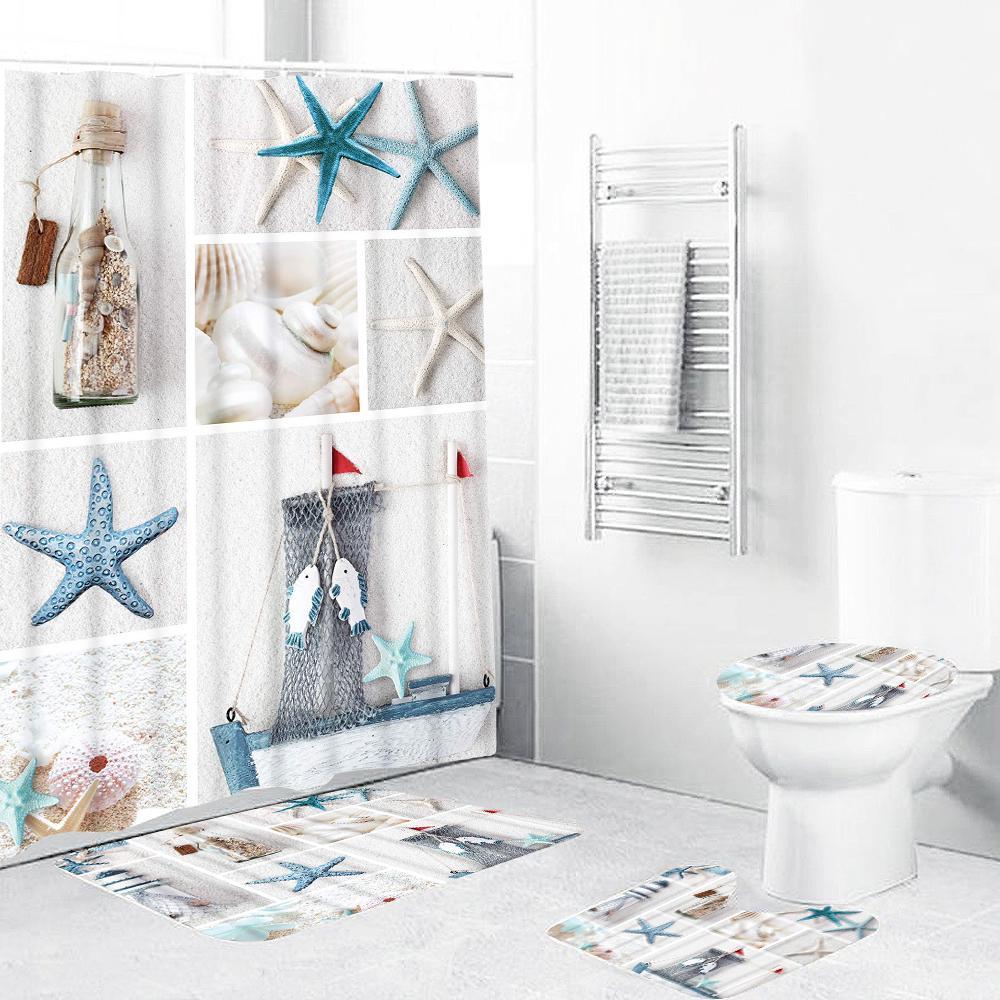 waterproof bathroom blue sea life seashell shower curtain 3pcs toilet non slip mats cover set buy at a low prices on joom e commerce platform