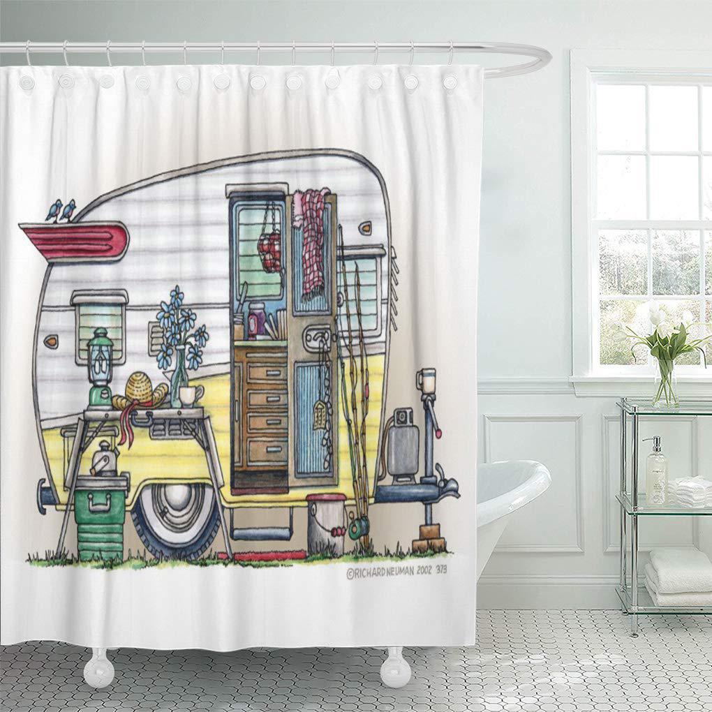 camping shasta camper trailer richard neuman newman art1st artist shower curtain 66x72inch 165x180cm
