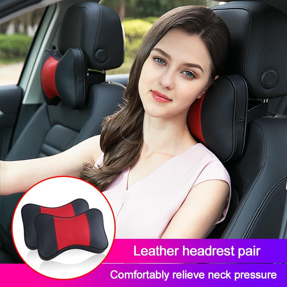 2pcs high quality genuine leather car neck pillow headrest neck cushion rest cushion for car travel