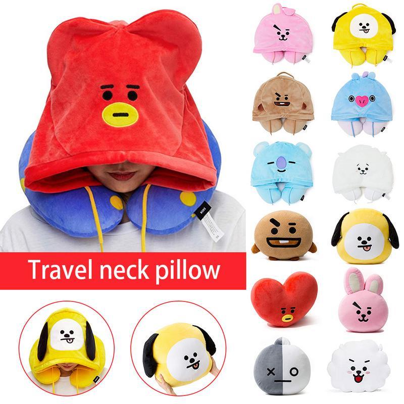 bts bulletproof youth league cartoon hooded u pillow travel neck pillow bt21 official product line f
