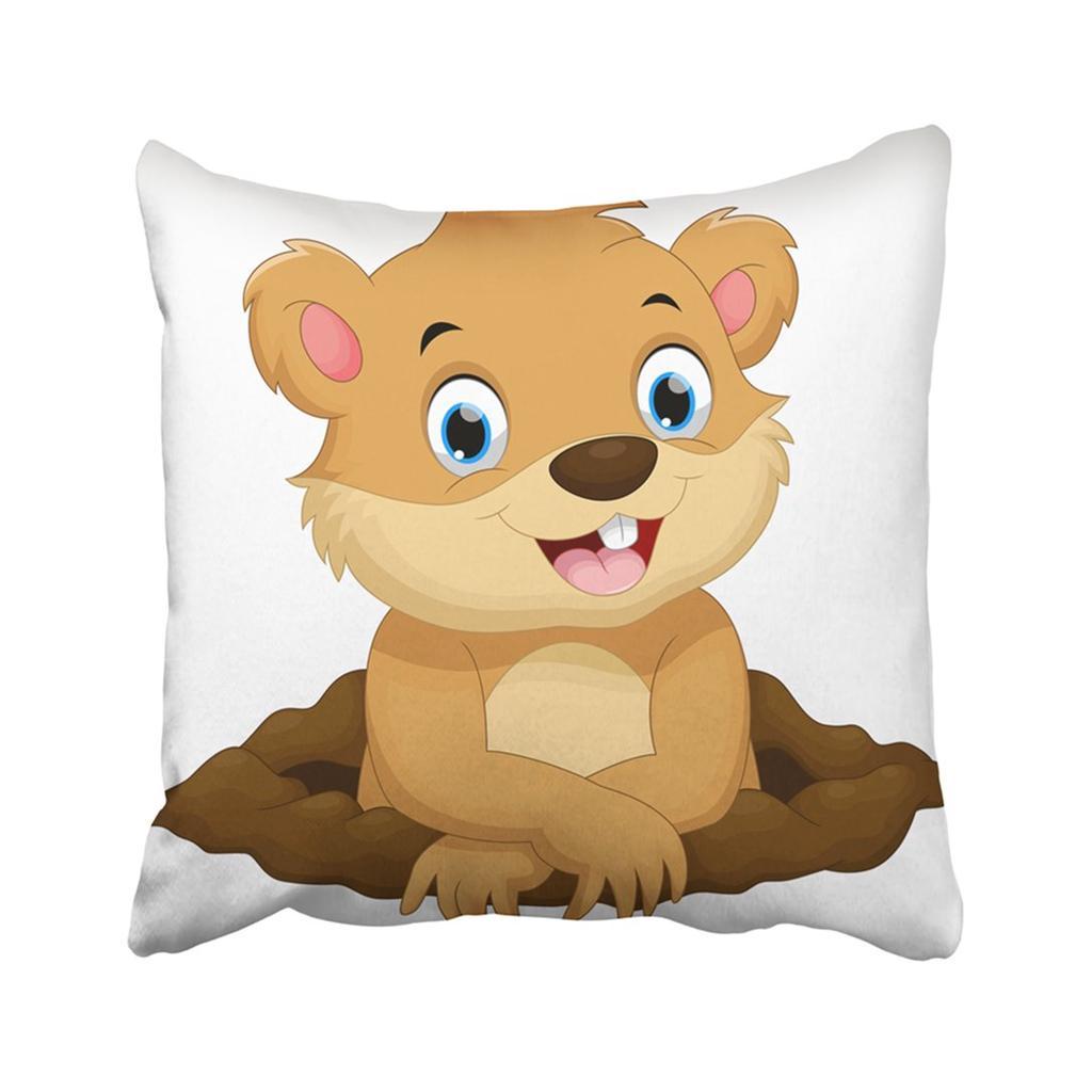 ground cute groundhog cartoon hog day gopher winter woodchuck animal baby pillowcase pillow cover 20x20inch 50x50cm