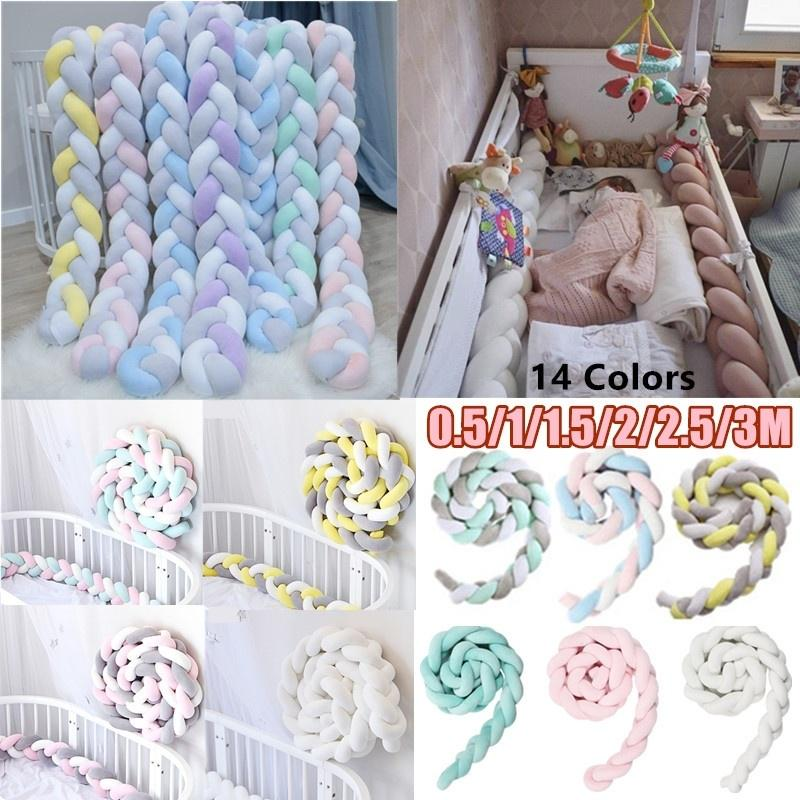 bed braid knot pillow cushion bumper for infant baby crib protector cot bumper room decor