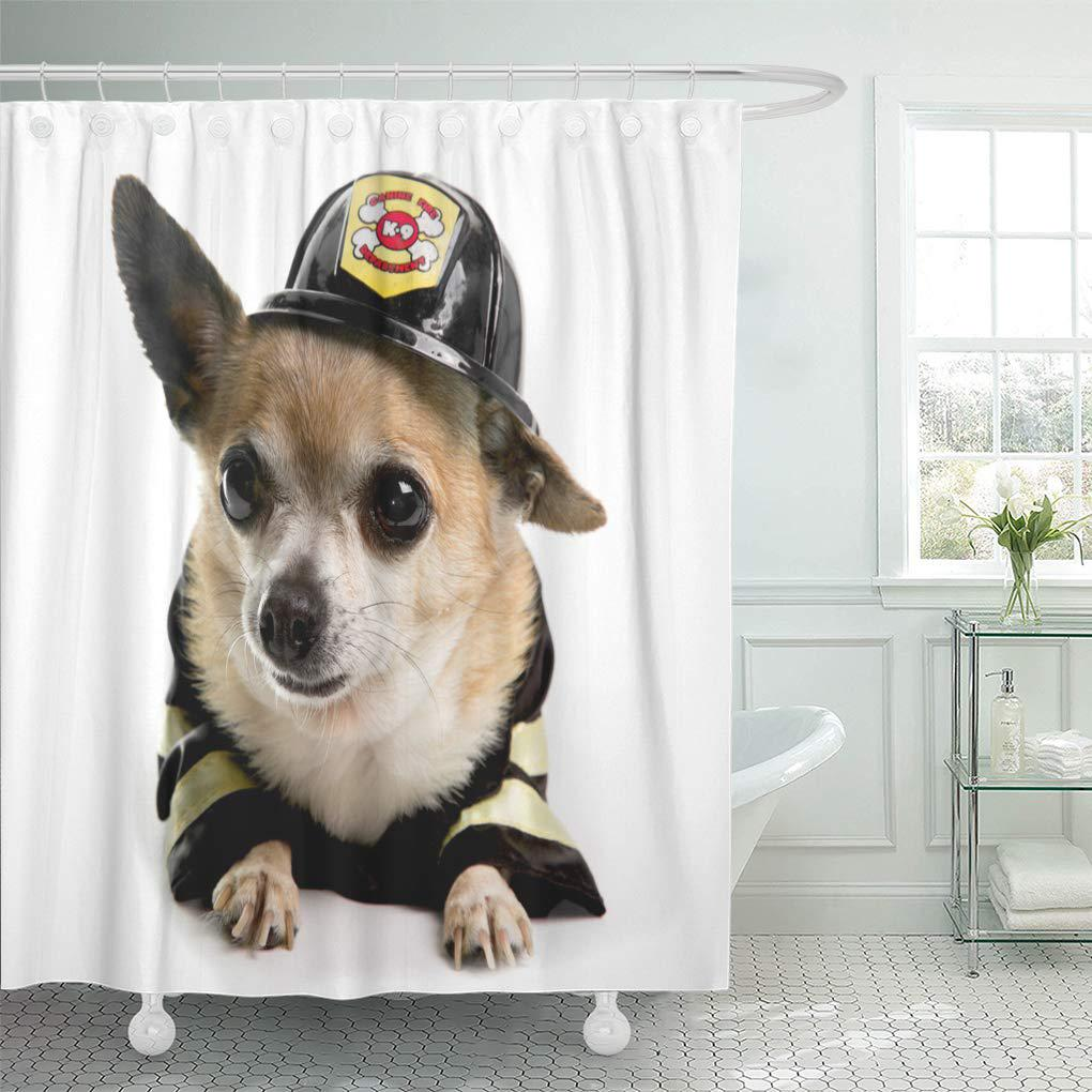 dog black cannine cute firefirghter chihuahau on white chihuahua shower curtain 66x72inch 165x180cm