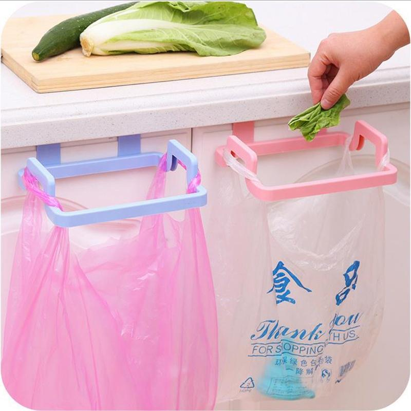 multi functional plastic cabinet organizer kitchen hanging garbage trash bag holder cloth towel rack
