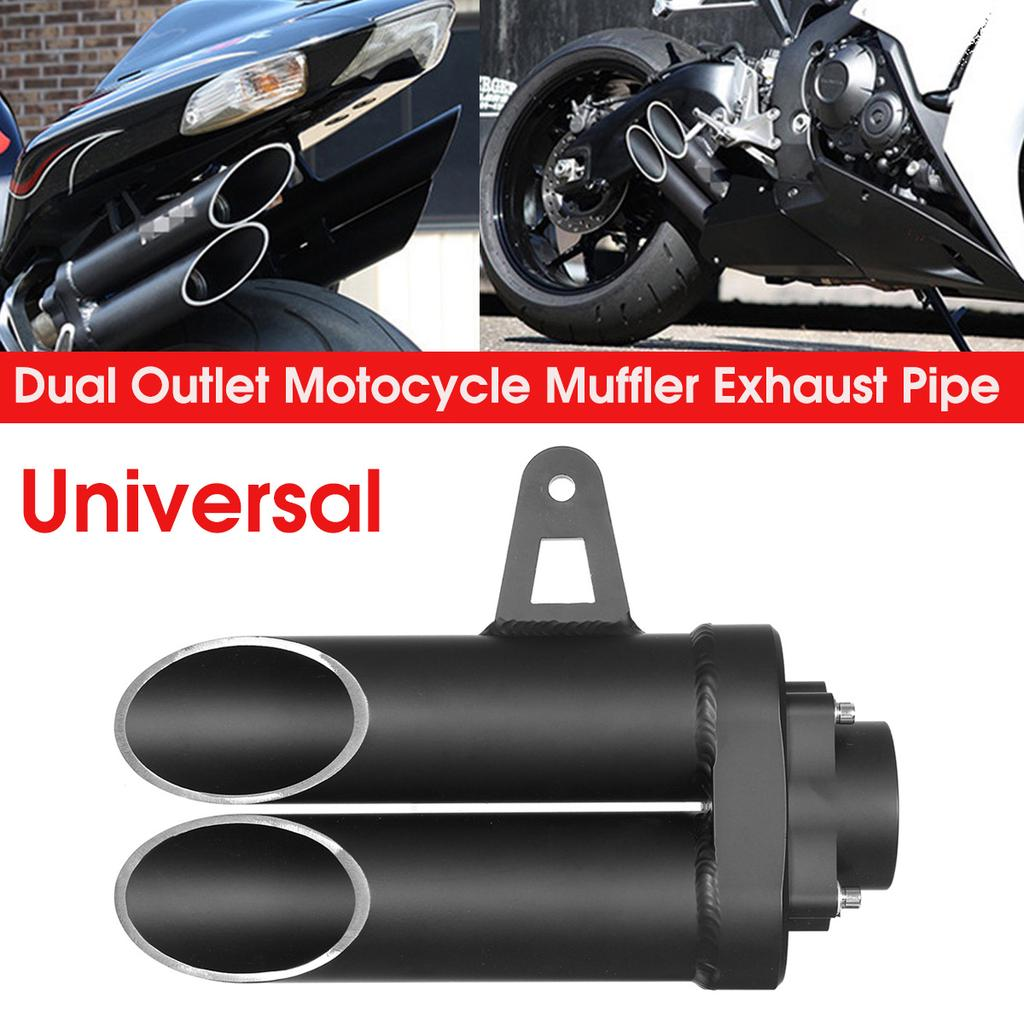 universal 280mm aluminum dual outlet motorcycle muffler exhaust tail pipe tip