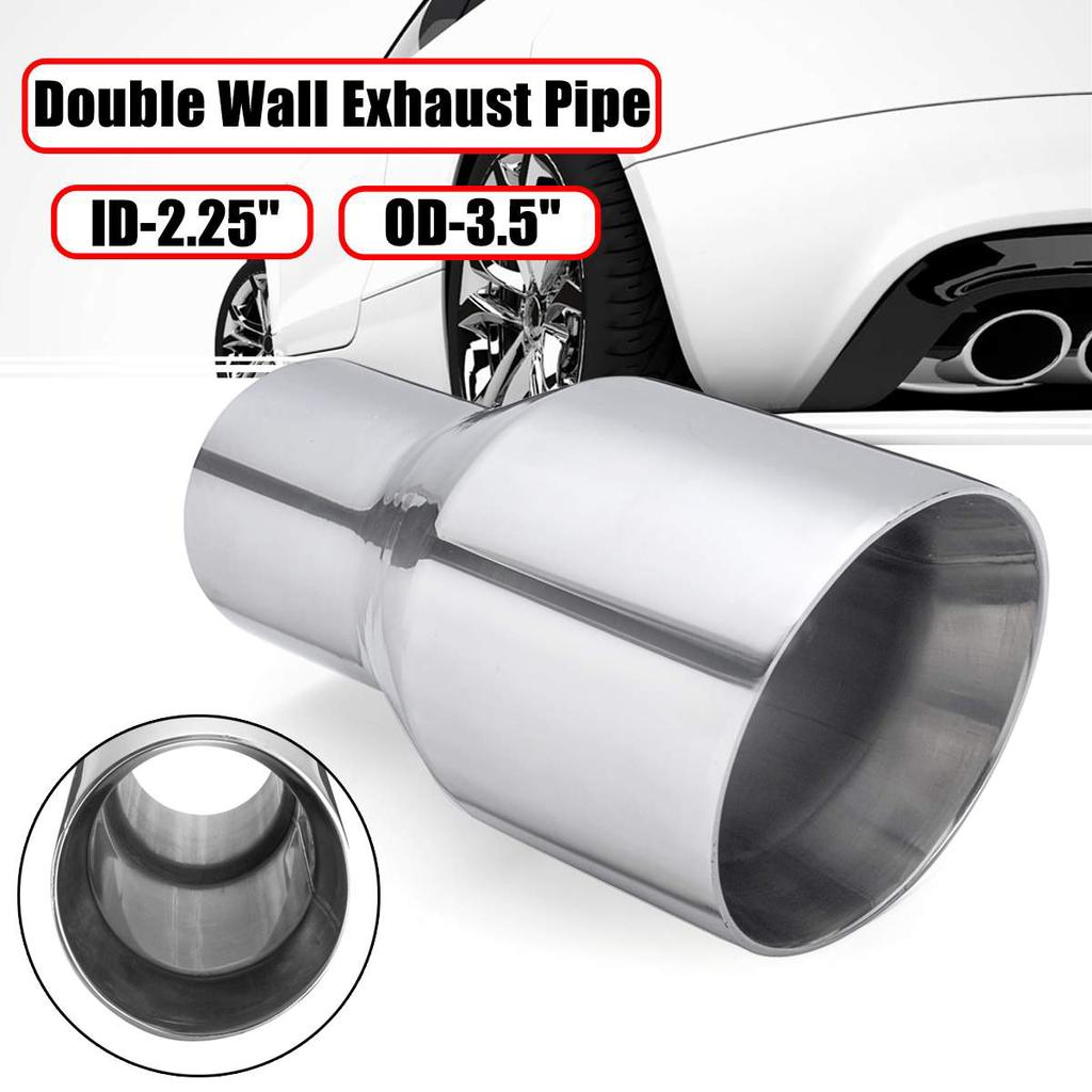 universal stainless steel exhaust tip double wall round slant 2 25 id 3 5 od