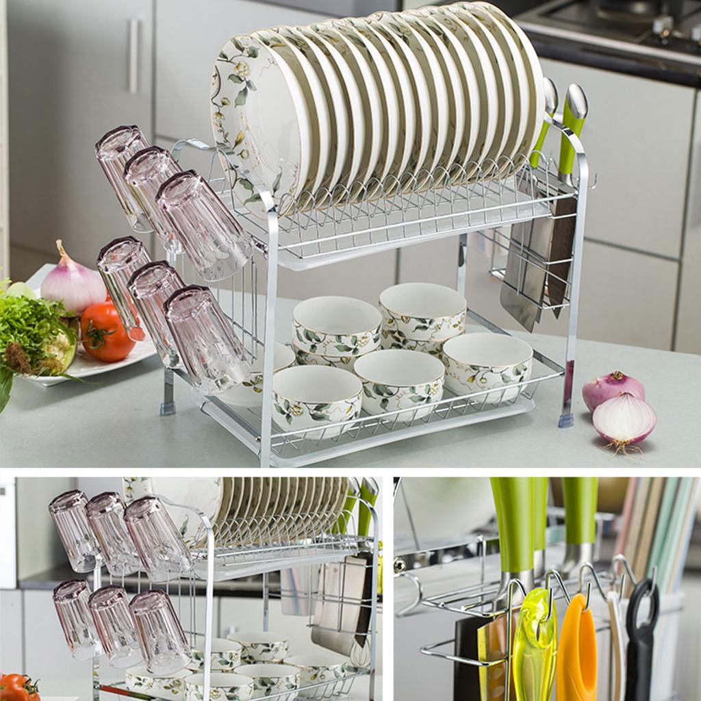 new practical 2 tiers kitchen dish cup drying rack drainer dryer tray cutlery holder organizer shelf buy at a low prices on joom e commerce platform