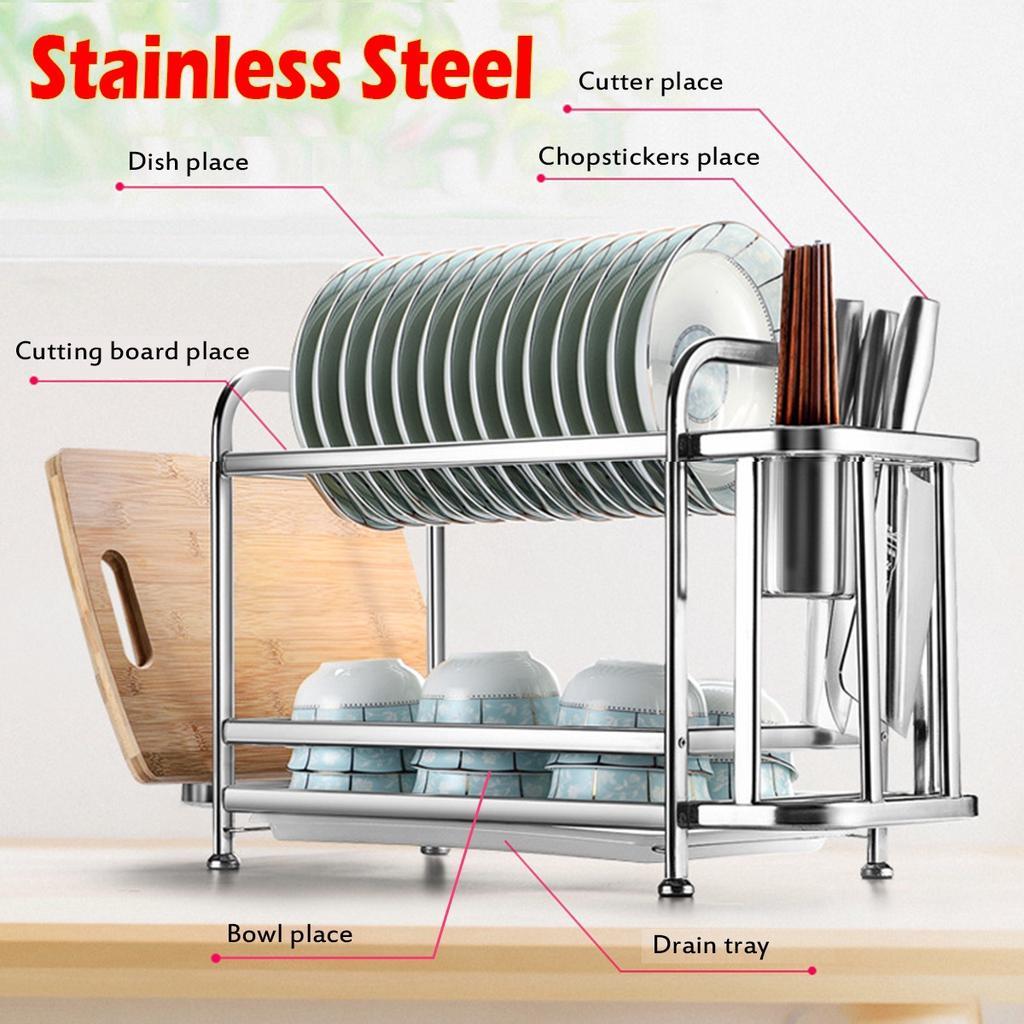 stainless steel kitchen shelf dish rack drain rack dishes tableware dryer organizer kitchen storage