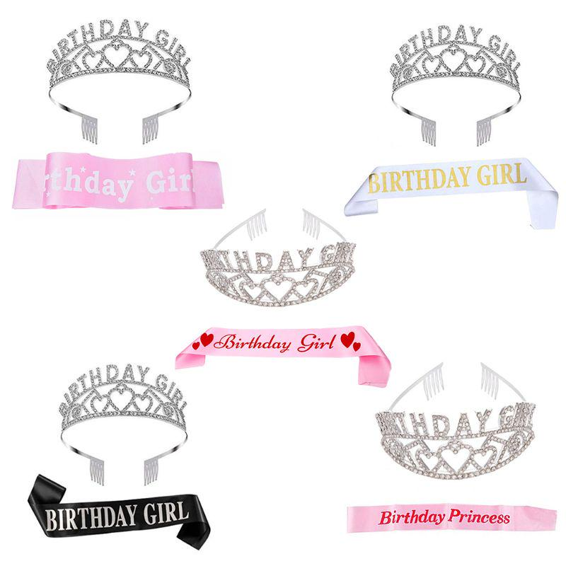 Birthday Girl Sash And Tiara Crown Happy Birthday Party Supplies Favors Decor Buy At A Low Prices On Joom E Commerce Platform