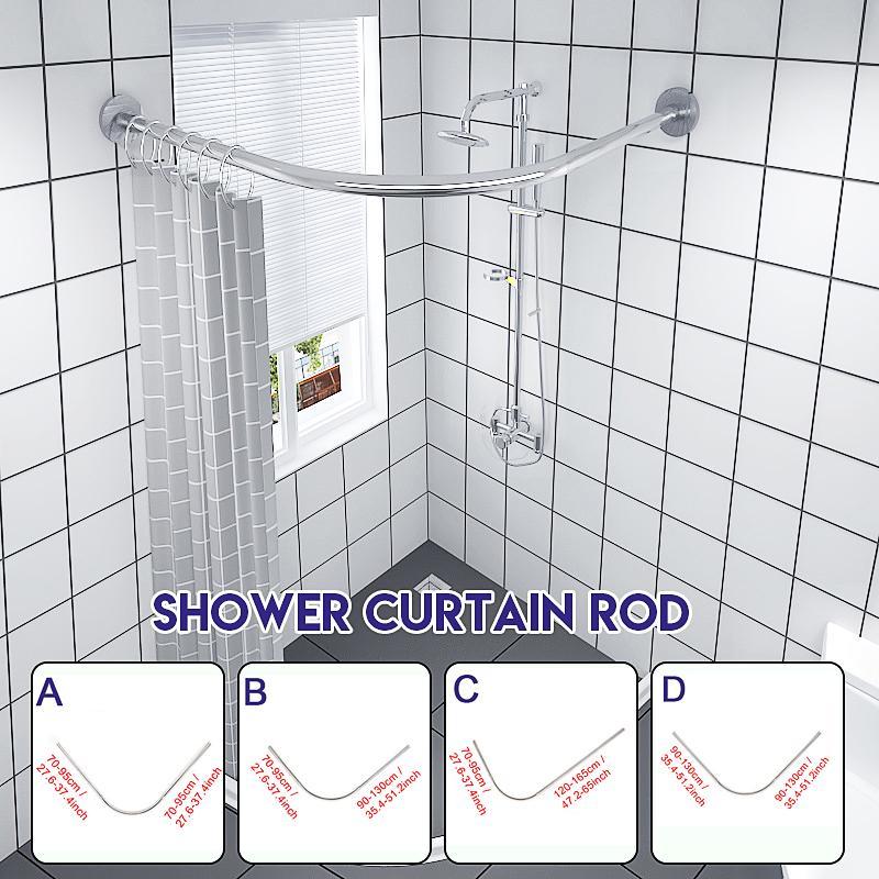 extendable corner shower curtain rod pole no punching rail rod bar bath door bathroom hardware heavy loaded punch free 4 sizes