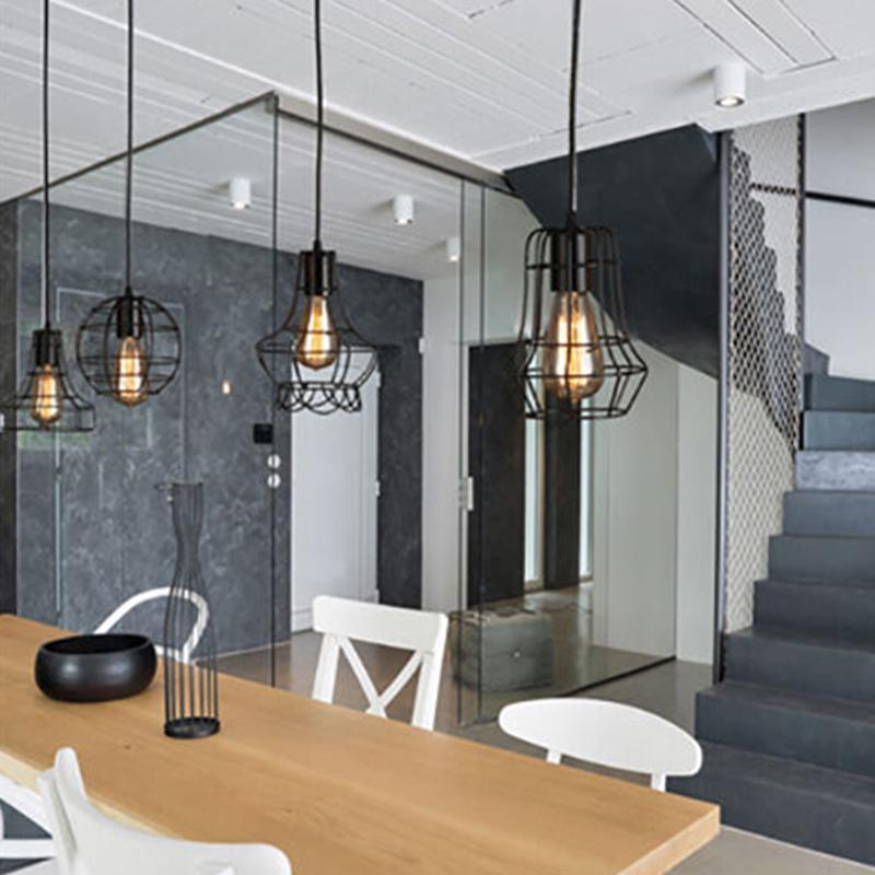 black industrial iron pendant lamp shade light bulb cage lighting fixtures buy at a low prices on joom e commerce platform