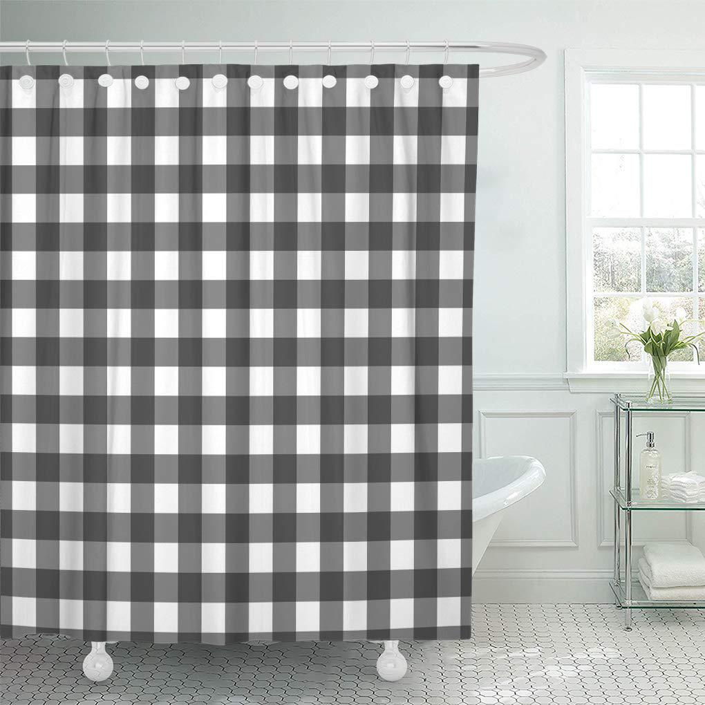 vichy gingham black check white abstract checkered material pattern shower curtain 60x72inch 150x180cm