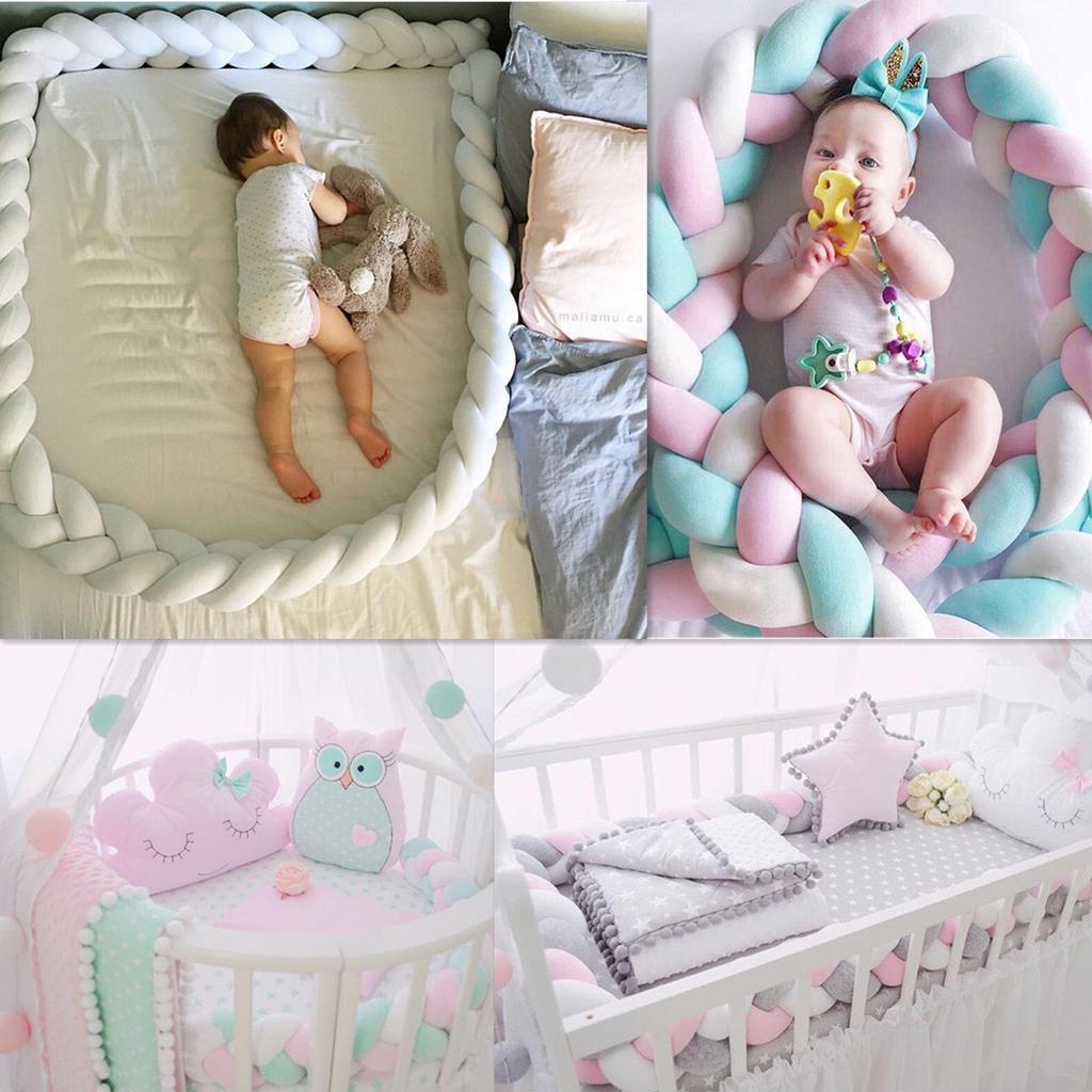 3m mixed colours braided crib bumper knot pillow knot cushion bolster pillow crib baby bed bumper kids pillow nursery decor