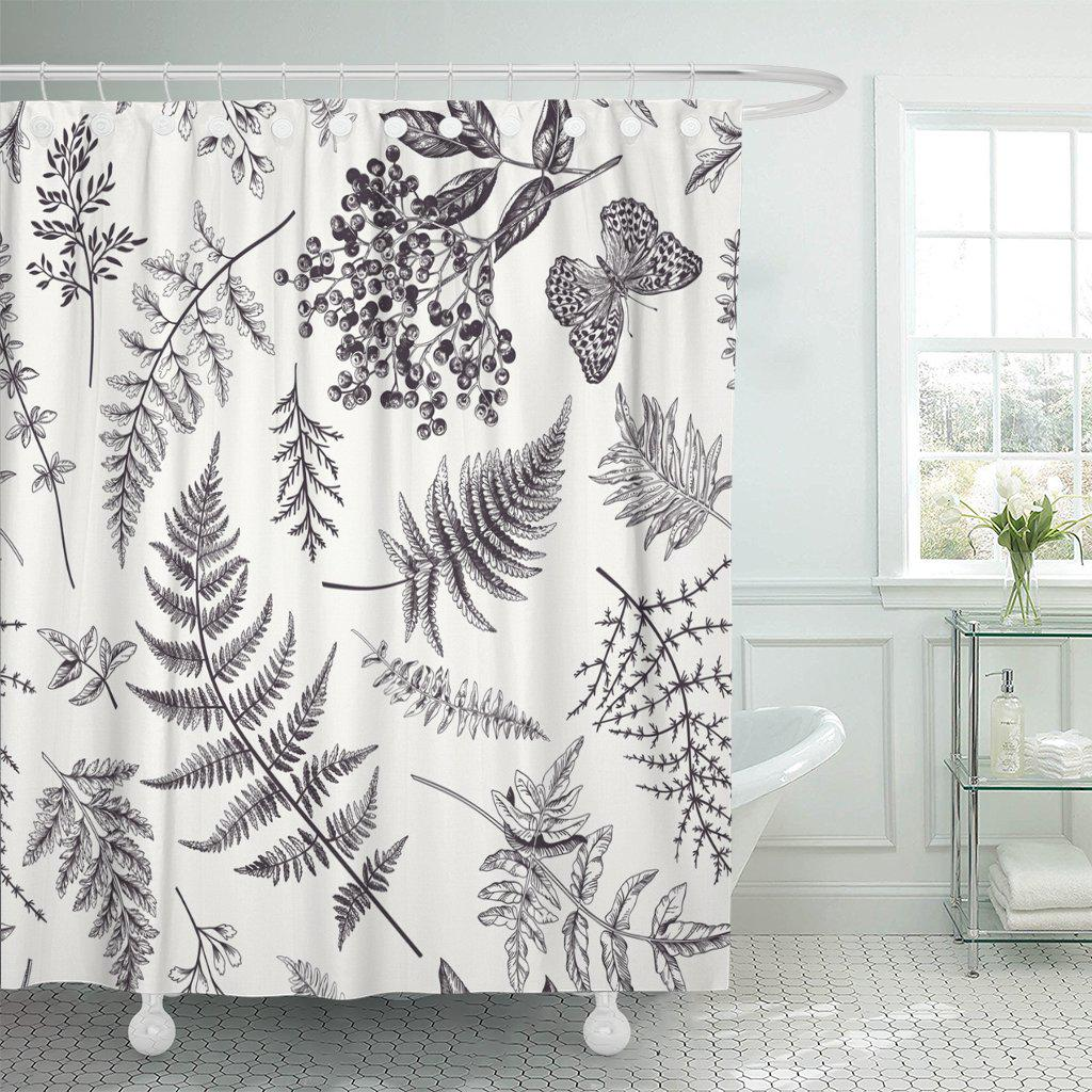floral in vintage various leaves of ferns blackberry polyester shower curtain 60x72inch 150x180cm