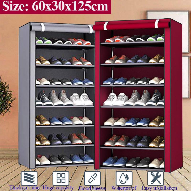 8 layer shoe rack shelf organizer cloth cabinet living room furniture large capacity storage steel pipe non woven curtain containers holder