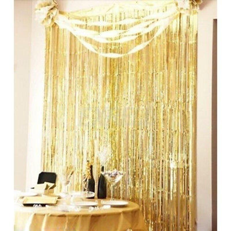 metallic fringe curtain party foil tinsel room decor 3 x 8 door wholesale aq