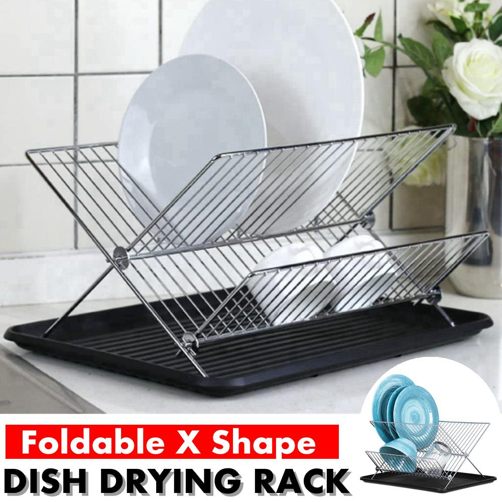 augienb dish drying rack x shape dish drying rack two tier dish rack and drainboard set stainless steel dry rack for dishes with drip tray