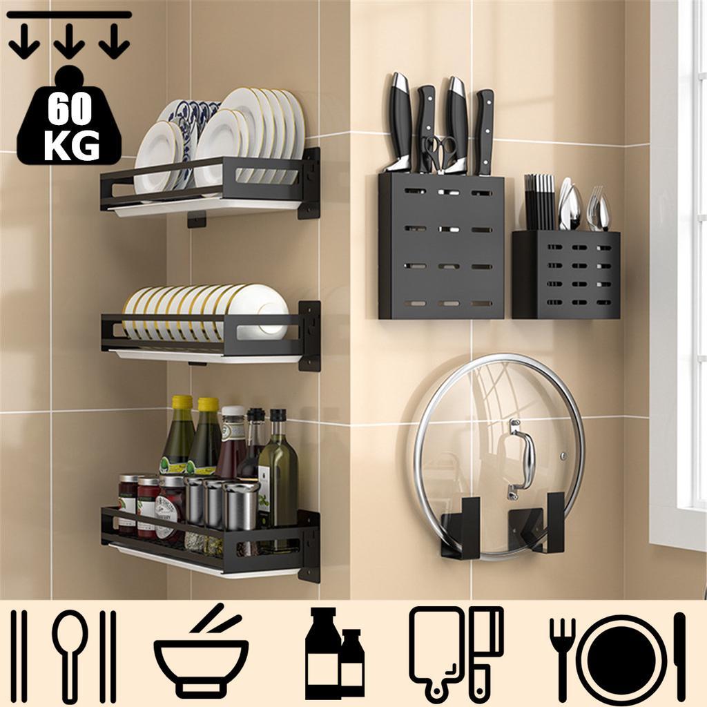 dish rack diy kitchen storage shelf utensils holder wall mount shelves spice organizer pan cutting