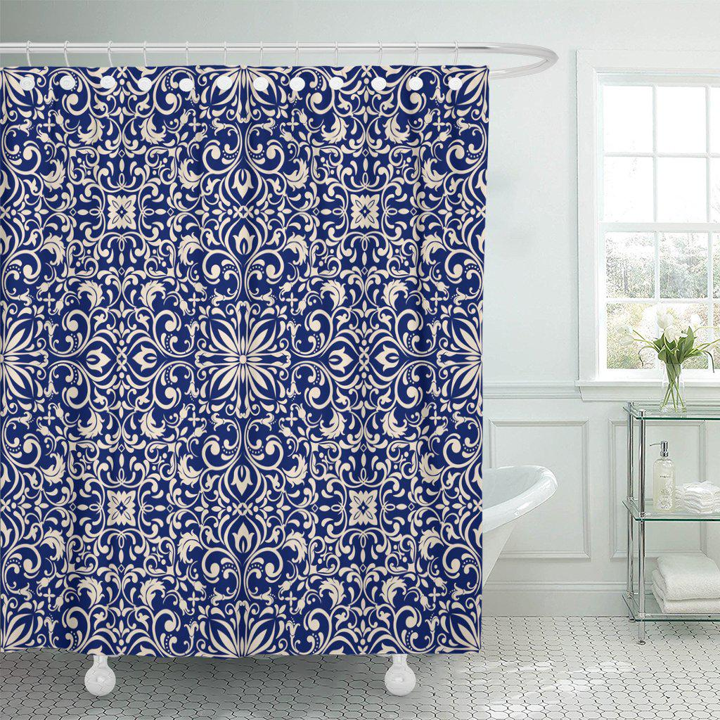 morocco damask pattern in blue and beige endless ceramic shower curtain 60x72inch 150x180cm