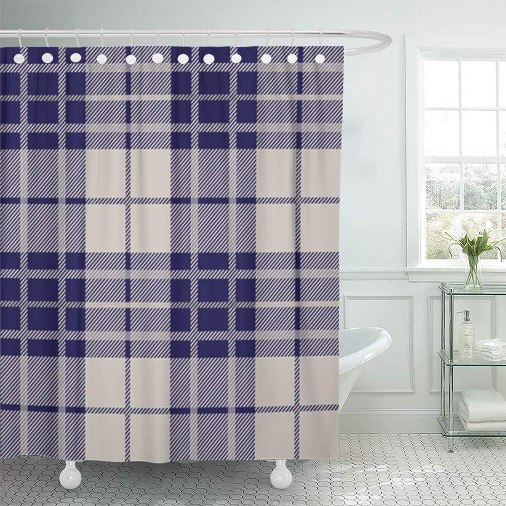 blue check tartan plaid pattern beige tweed simple abstract british celtic checkered bath shower curtain 66x72inch 165x180cm