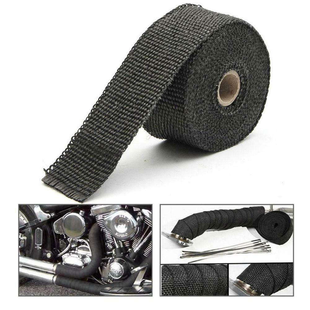 black motorcycle black exhaust header pipe tape fiberglass heat wrap roll y3a4 buy at a low prices on joom e commerce platform