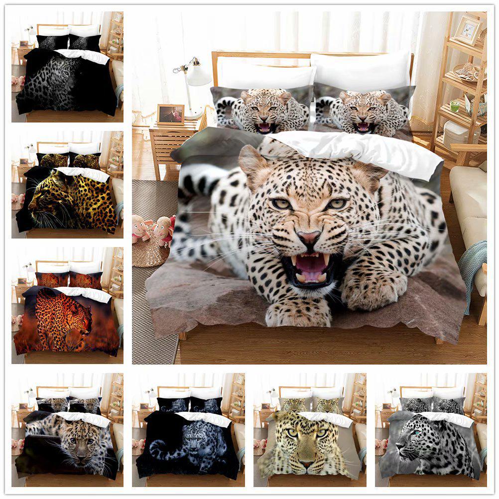 3d printed leopard 2 3pcs bedding set duvet cover with pillowcases animal leopard bed set