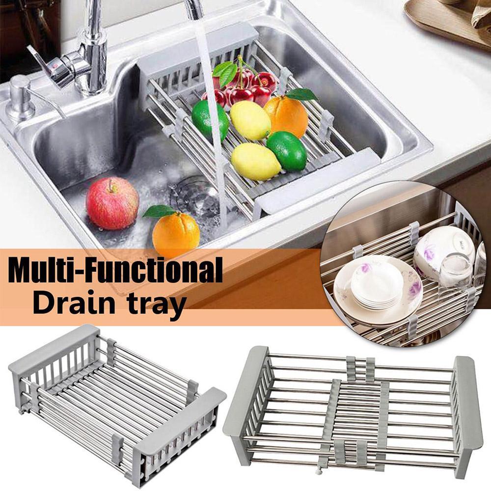 sink dish drying rack kitchen organizer stainless steel sink drain basket vegetable fruit holder buy at a low prices on joom e commerce platform