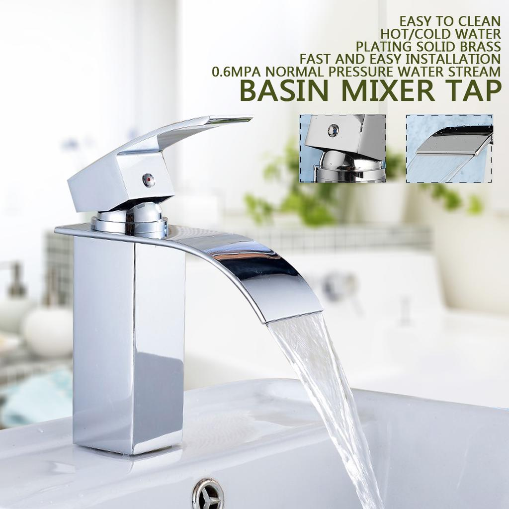 basin mixer tap modern waterfall brass hot and cold water taps faucet bathroom kitchen home