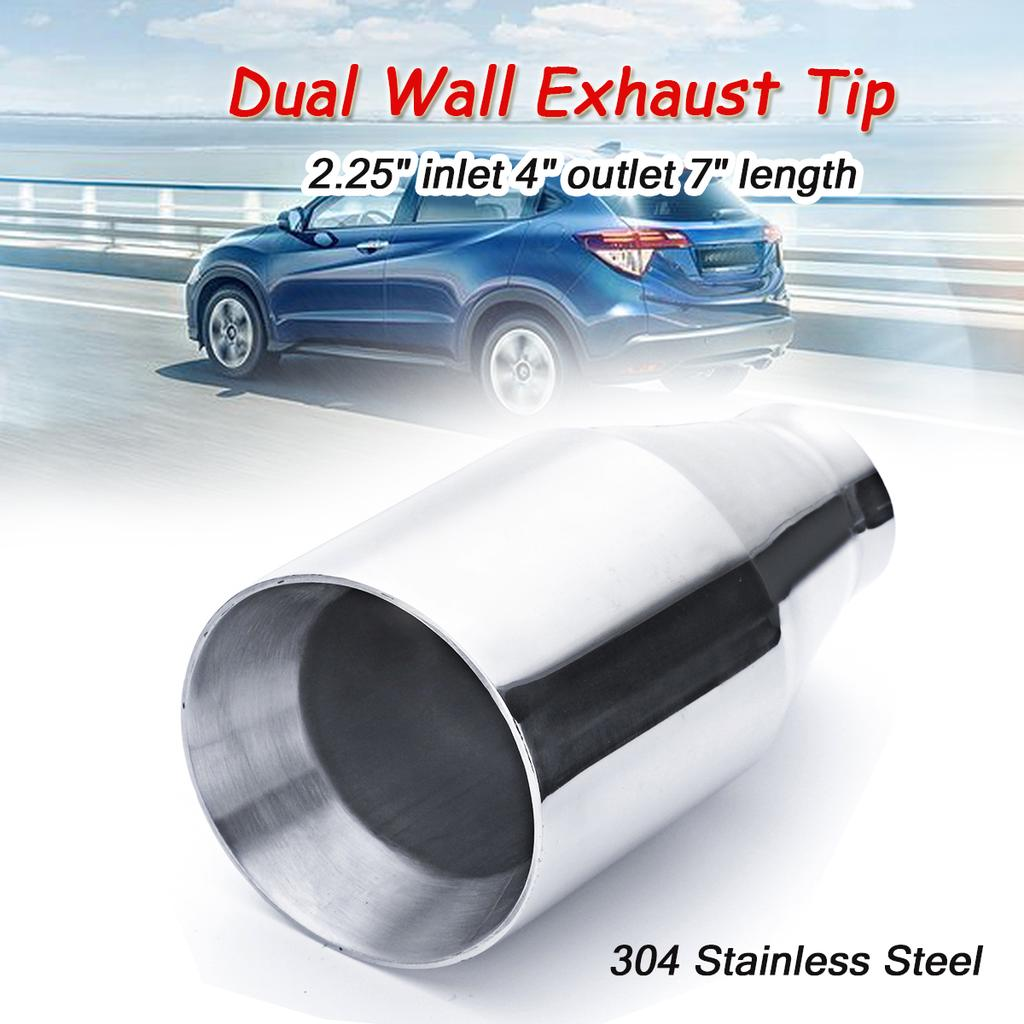 2 25 inlet 4 outlet 7 dual wall stainless steel exhaust pipe muffler tip buy at a low prices on joom e commerce platform