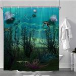 Hand Painted Turtles And Fish Plants Bathroom Fabric Shower