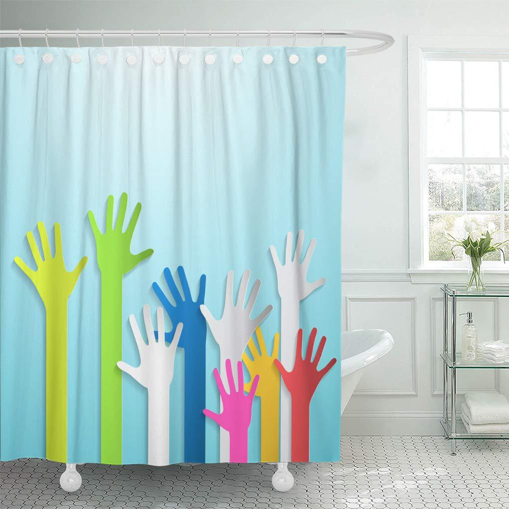 red green color cut colorful hands on blue orange shower curtain 60x72inch 150x180cm