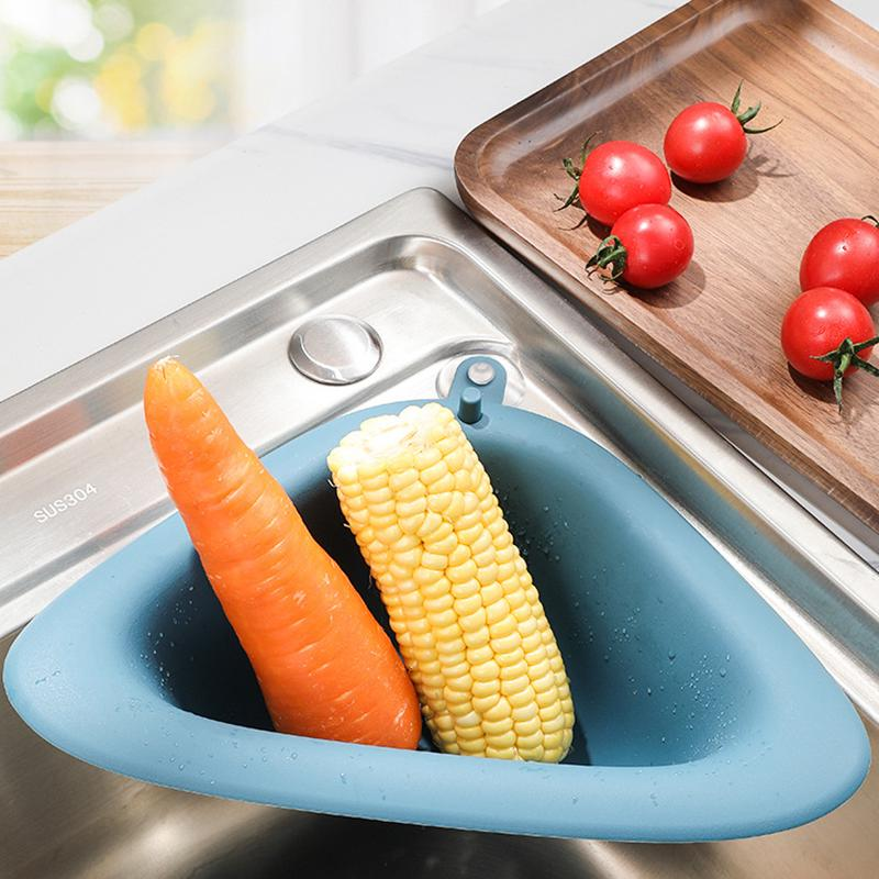 new kitchen triangular sink strainer vegetable fruit drainer basket storage tool sink filter shelf