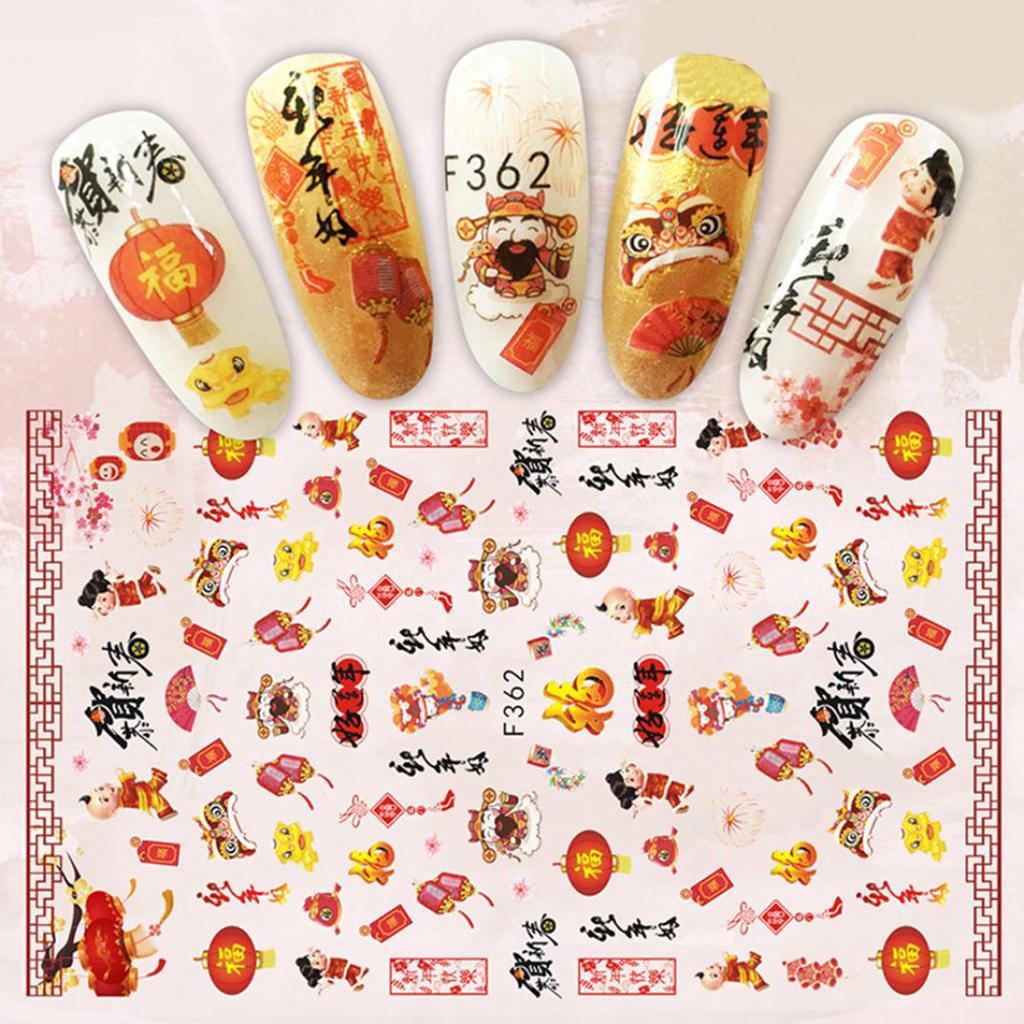 Chinski Nowy Rok Nail Art Naklejka Kobiety Manicure Decor Wiosna