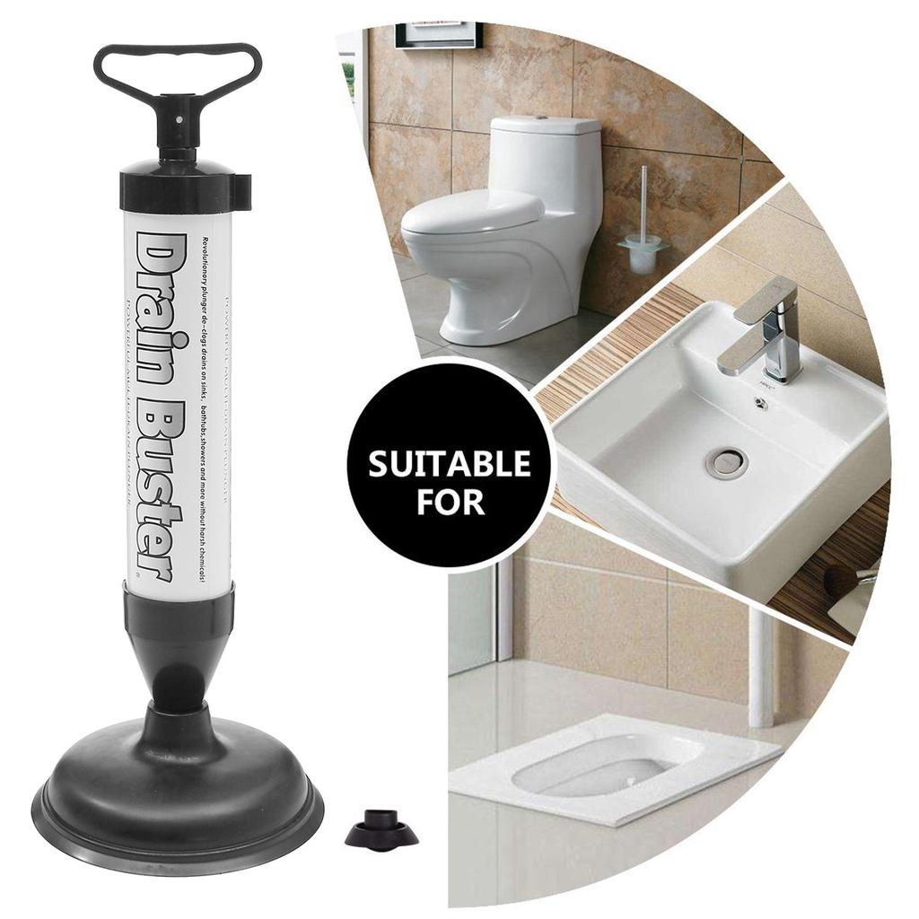air pump action drain plunger unclog hand powered toilets drains kitchen sink washbasin floor drain bathroom accessories
